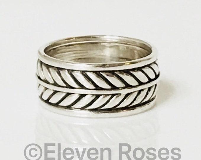David Yurman Wide Chevron Band Ring 925 Sterling Silver Free US Shipping