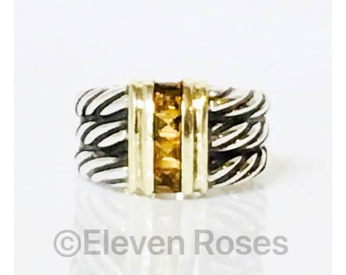 Vintage David Yurman Three Row Cable Citrine Ring 925 Sterling Silver & 585 14k Gold Free US Shipping