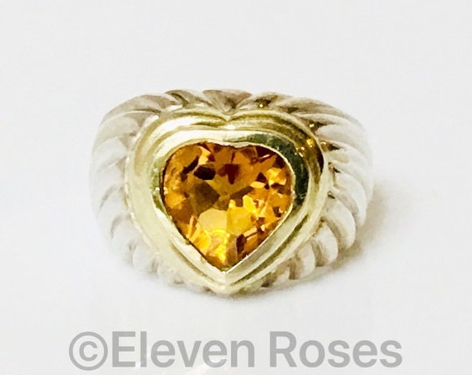 David Yurman Large Classic Cable Golden Citrine Heart Ring 925 Sterling Silver 585 14k Gold Free US Shipping