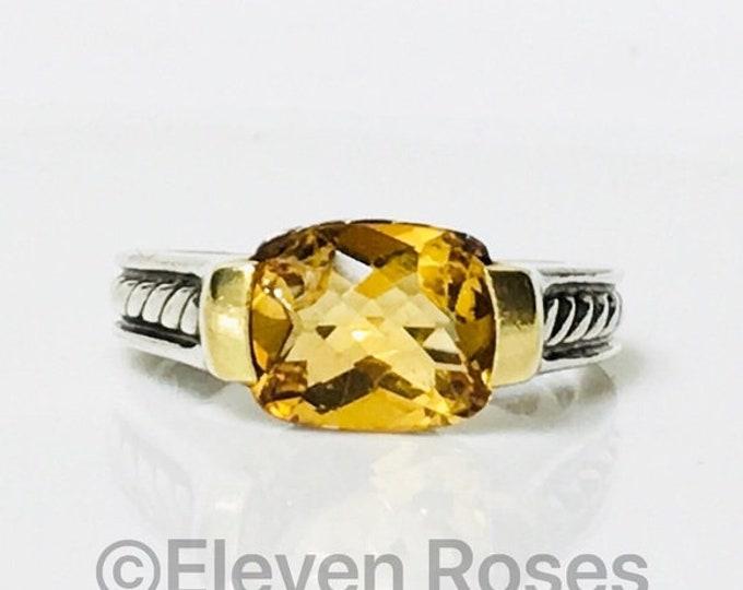David Yurman Golden Citrine Deco Ring DY 925 Sterlling Silver 750 18k Gold Free US Shipping