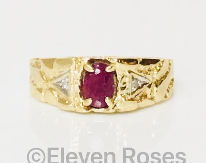 Vintage 10k Gold Ruby & Diamond Nugget Ring Free US Shipping