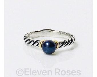 David Yurman Black Pearl Ring 925 Sterling Silver 750 18k Gold Free US Shipping
