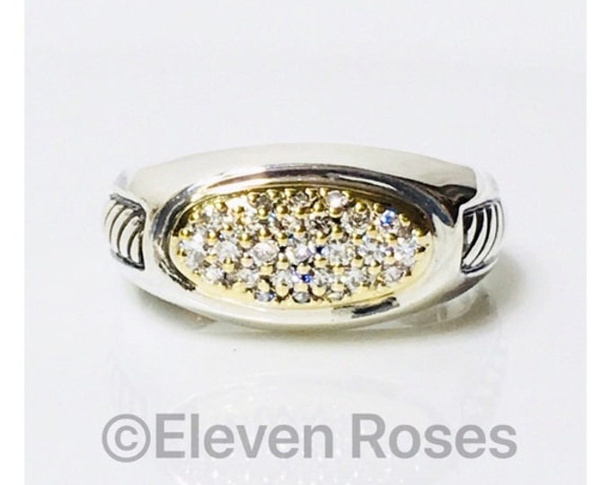 Mens David Yurman Inset Cable Diamond Signet Ring DY 925 Sterling Silver 750 18k Gold Free US Shipping