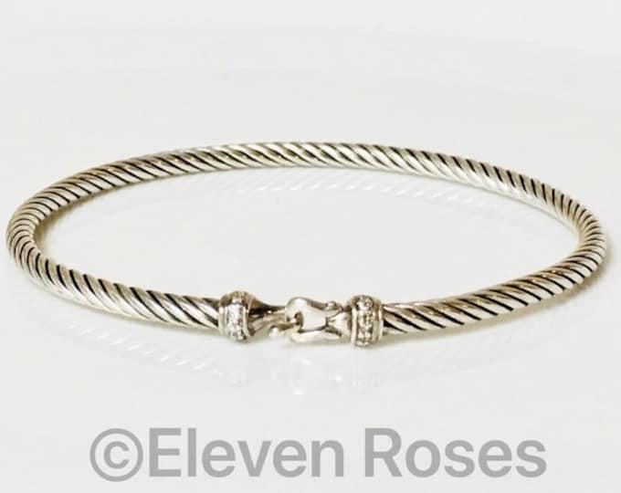 David Yurman Diamond Buckle Hook Bangle Bracelet DY 925 Sterling Silver Free US Shipping