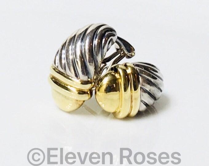 David Yurman Classic Cable Acorn Huggie Earrings 925 Sterling Silver & 585 14k Gold Free US Shipping