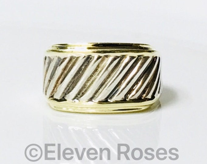 Mens David Yurman Thoroughbred Classic Cable Wide Cigar Band Ring 925 Sterling Silver & 585 14k Gold Free US Shipping