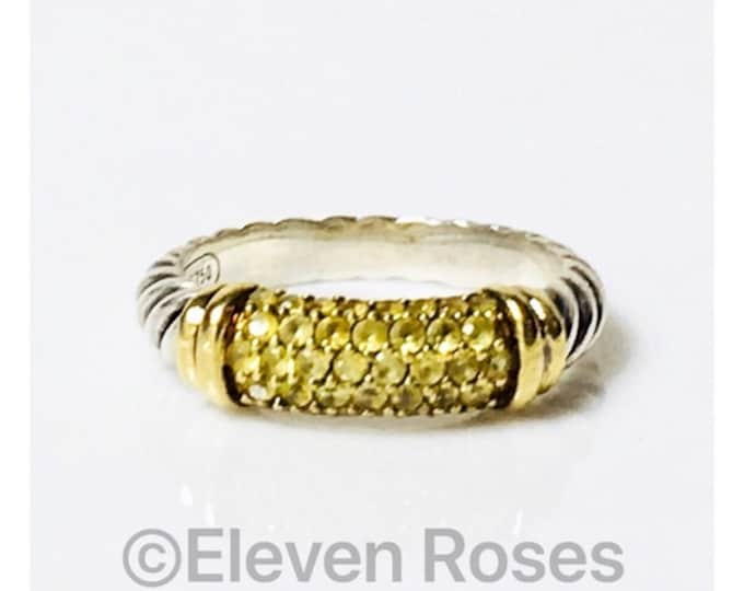 David Yurman Yellow Sapphire Cable Candy Metro Ring DY 925 Sterling Silver & 750 18k Yellow Gold Free US Shipping