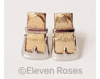 Two Tone 925 Sterling Silver & Gold Belt Buckle Cufflinks Cuff Links Free US Shipping