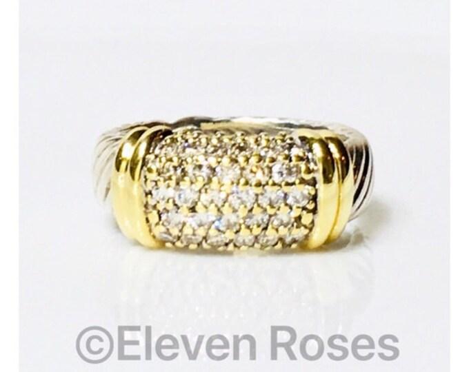 David Yurman Diamond Cable Metro Ring 925 Sterling Silver 750 18k Gold Free Shipping