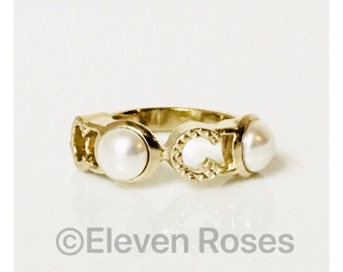 CHANEL Pearl CC Logo Ring Free US Shipping