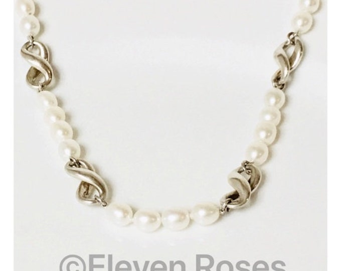 Tiffany & Co. 1999 Pearl Infinity Station Necklace 925 Sterling Silver Free US Shipping