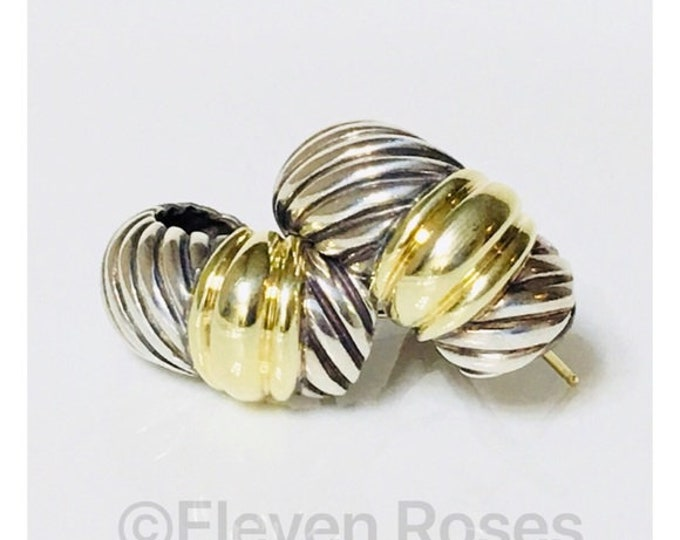 David Yurman Classic Cable Thoroughbred Shrimp Earrings DY 925 Sterling Silver 585 14k Gold Free US Shipping