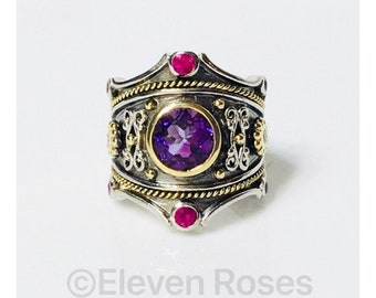 Eli Jewels Etruscan Amethyst Ruby Diamond Multi Stone Statement Ring 925 Sterling Silver 750 18k Gold Large Statement Size 7