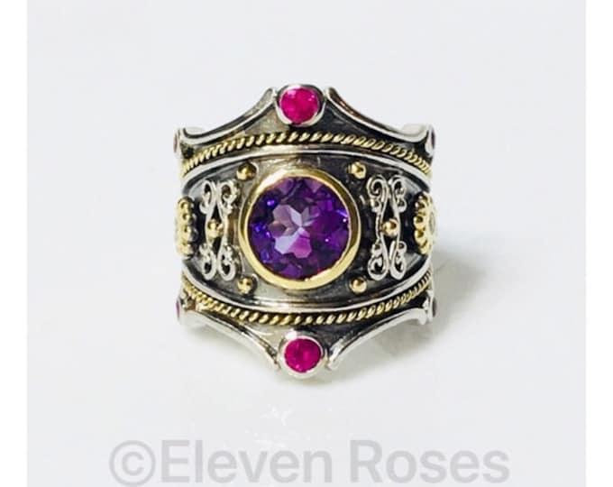 Eli Jewels Etruscan Amethyst Ruby Diamond Multi Stone Statement Ring 925 Sterling Silver 750 18k Gold Large Statement Size 7