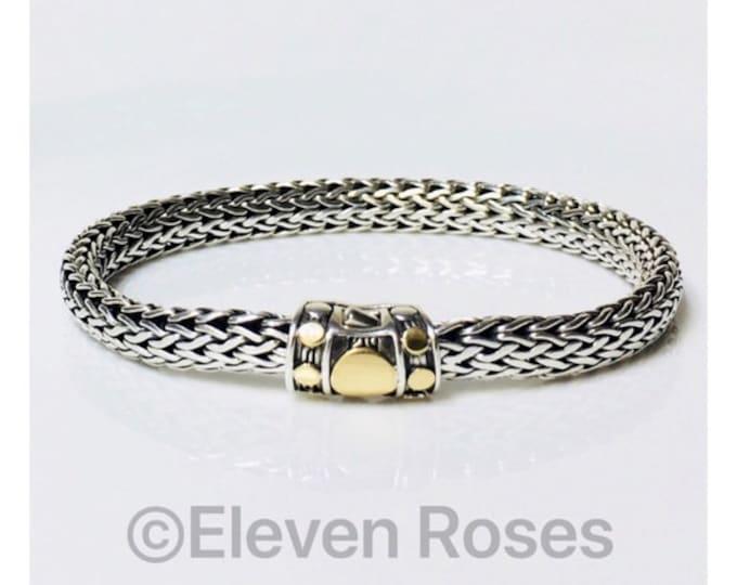 John Hardy Two Tone Dot Chain Bracelet 750 18k Gold 925 Sterling Silver Free US Shipping