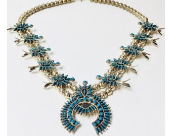 Zuni Turquoise Squash Blossom Necklace 925 Sterling Silver Free US Shipping