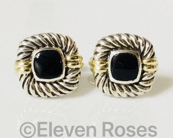 David Yurman Classic Cable Black Onyx Cufflinks Cuff Links DY 925 Sterling Silver Free US Shipping