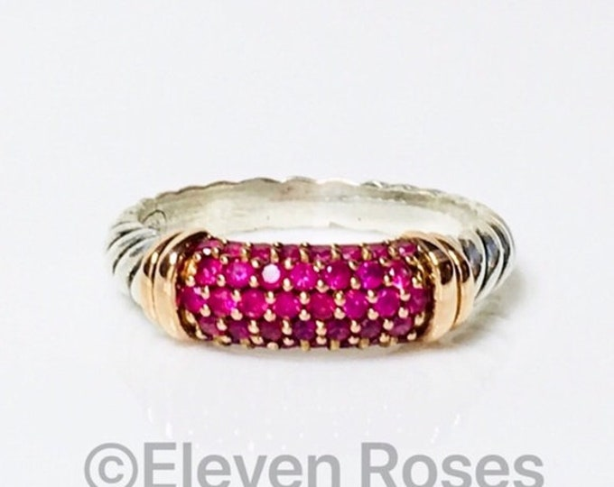 David Yurman Pink Sapphire Cable Candy Metro Ring DY 925 Sterling Silver & 750 18k Rose Gold Free US Shipping