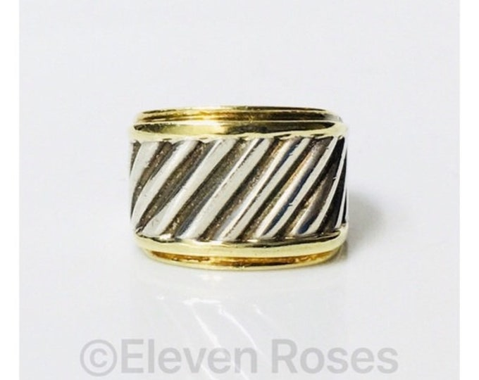 David Yurman Thoroughbred Classic Cable Wide Cigar Band Ring DY 925 Sterling Silver 585 14k Gold Free US Shipping