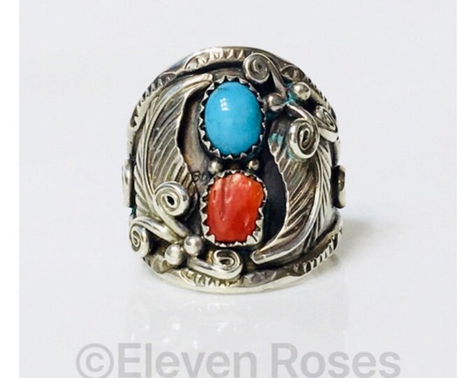 Men's Vintage Navajo John Delvin Turquoise Red Coral Ring 925 Sterling Silver Free US Shipping