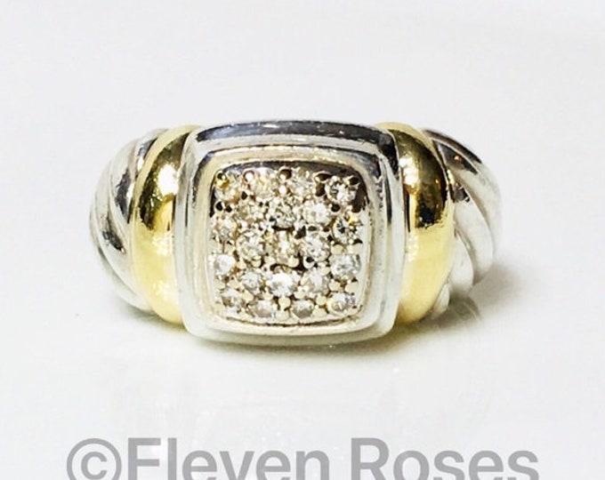 David Yurman Diamond Noblesse Ring 925 Sterling Silver & 750 18k Gold Free Shipping