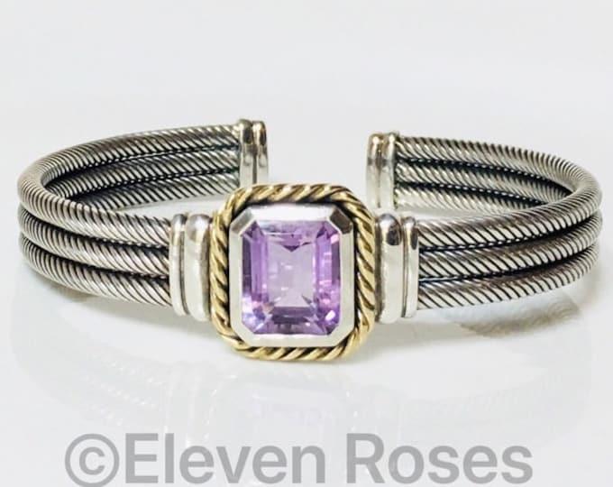 Designer Amethyst Gemstone Three Row Cable Cuff Bracelet 925 Sterling Silver 585 14k Gold Free US Shipping
