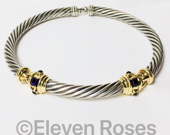 David Yurman Renaissance 10mm Amethyst Cable Choker Necklace 925 Sterling Silver 585 14k Yellow Gold Free US Shipping
