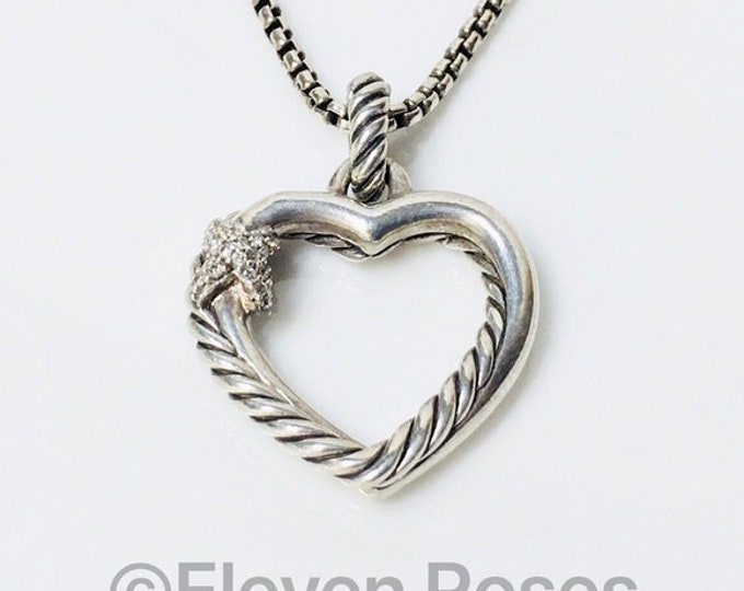 David Yurman Diamond X Cable Heart Pendant Box Chain Necklace  925 Sterling Silver Free US Shipping