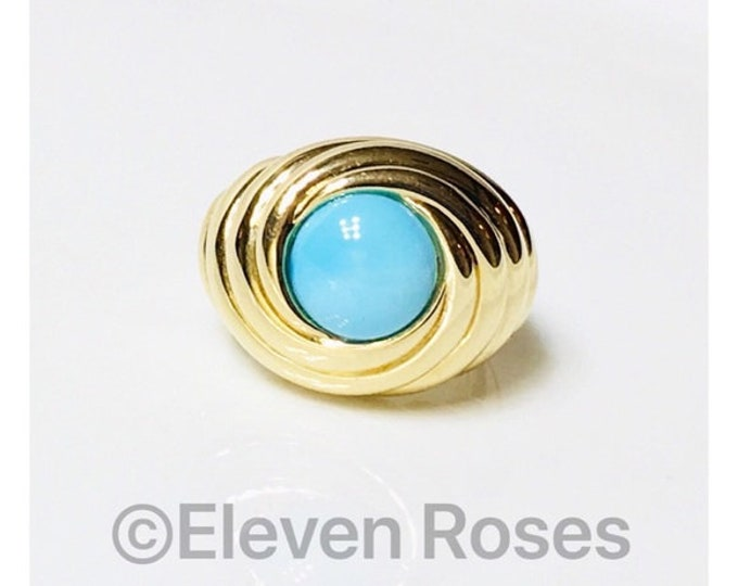 Extra Large 585 14k Gold & Turquoise Cabochon Turban Swirl Statement Ring Free US Shipping