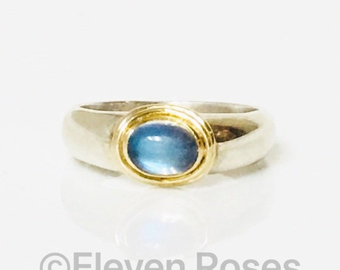 Vintage Moonstone Ring Two Tone 925 Sterling Silver & 750 18k Gold Free US Shipping
