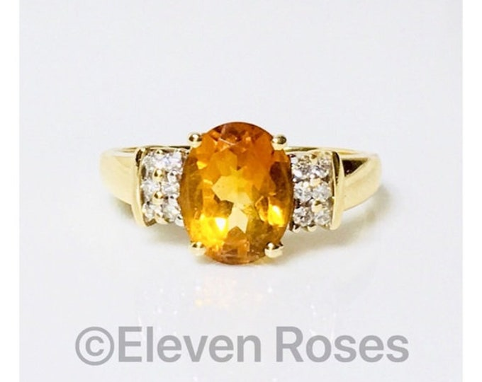 Vintage 585 14k Gold Citrine &  Diamond Cocktail Ring Free US Shipping
