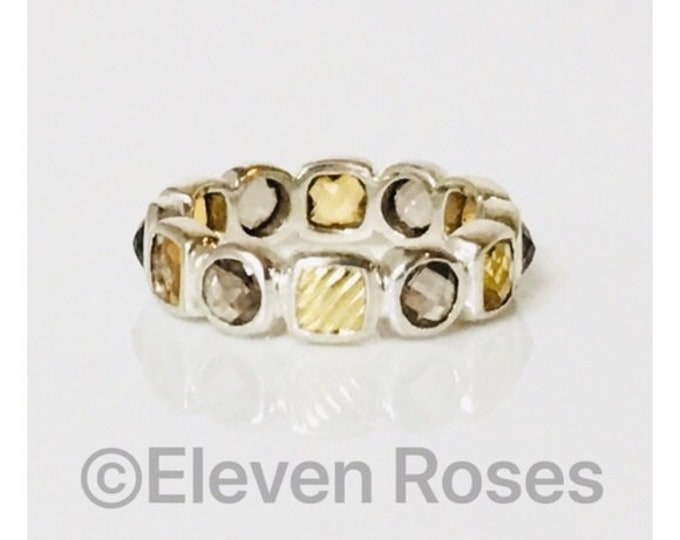 David Yurman Smoky Quartz & Citrine Chiclet Eternity Band Ring DY 925 Sterling Silver 750 18k Gold  Free US Shipping