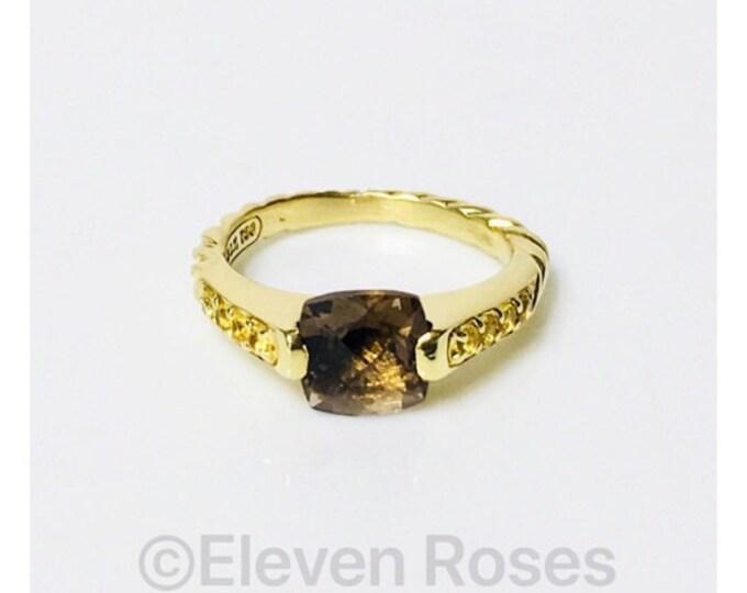 David Yurman Smoky Quartz Sapphire Deco Ring Solid 750 18k Gold Free US Shipping