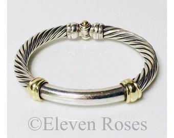 David Yurman Classic Cable 7mm Bangle Bracelet DY 925 Sterling Silver 585 14k Gold Free Shipping