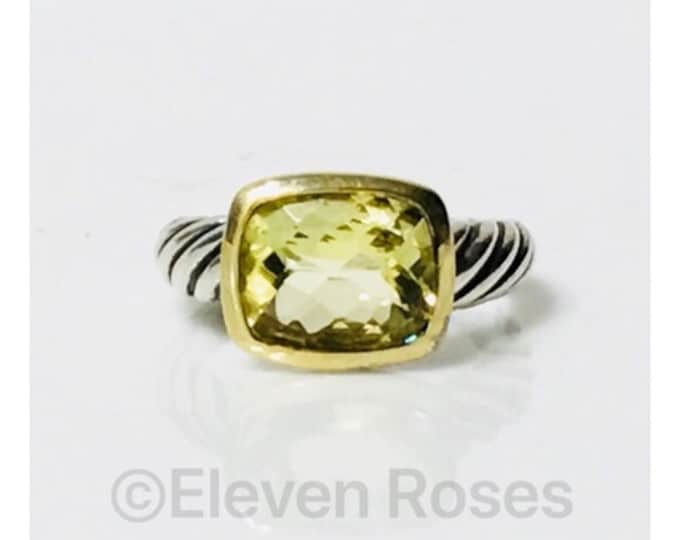 David Yurman Lemon Citrine Noblesse Ring DY 925 Sterling Silver 750 18k Gold Free US Shipping