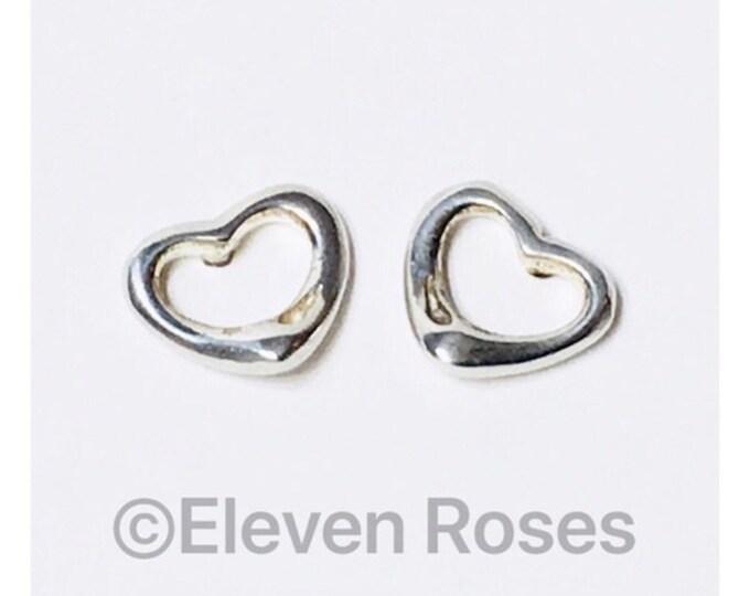 Tiffany & Co. Elsa Peretti Open Heart Earrings 925 Sterling Silver Free US Shipping