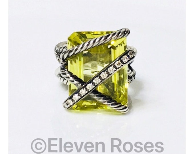 David Yurman Large Lemon Citrine & Diamond Cable Wrapped Ring 925 Sterling Silver Free US Shipping