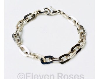 Tiffany & Co. Flat Oval Link Bracelet 925 Sterling Silver Free US Shipping