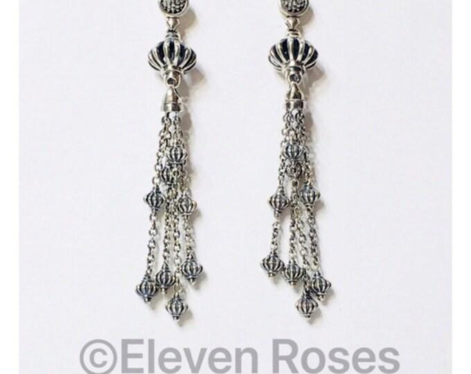 Lagos Caviar Birdcage Tassel Dangle Earrings 750 18k Gold 925 Sterling Silver Free US Shipping