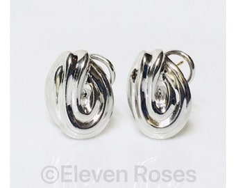 Vintage Tiffany & Co Knot Earrings 925 Sterling Silver 14k Gold Free US Shipping