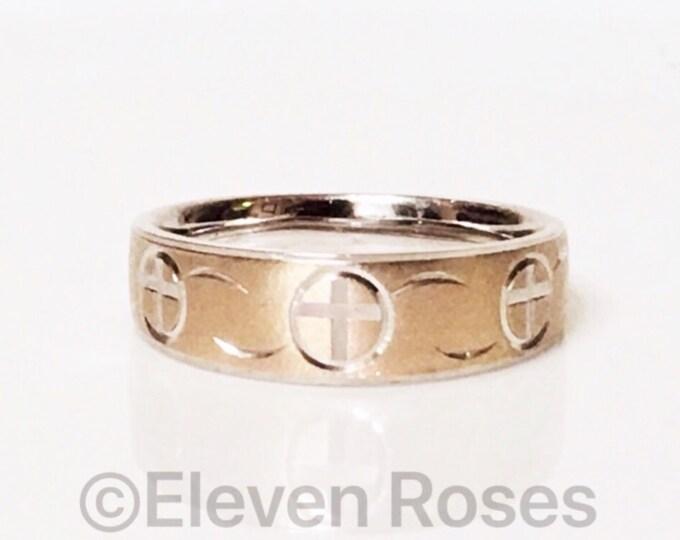 Men's Diamond Cut Cross Comfort Band Ring 925 Sterling Silver & 14k Satin Brushed Gold Free US Shipping