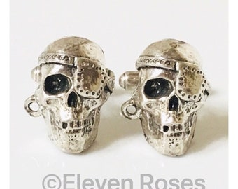 Custom Pirate Skull Cufflinks Cuff Links 925 Sterling Silver Free US Shipping