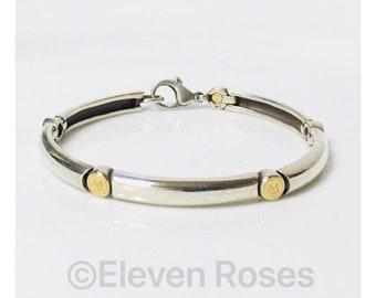 Men's Movado Link Bracelet 925 Sterling Silver 750 18k Gold Free US Shipping