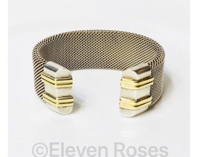 Designer Two Tone Industrial Wide Heavy Mesh Screw Cuff Bracelet 925 Sterling Silver & 750 18k Gold Free US Shipping