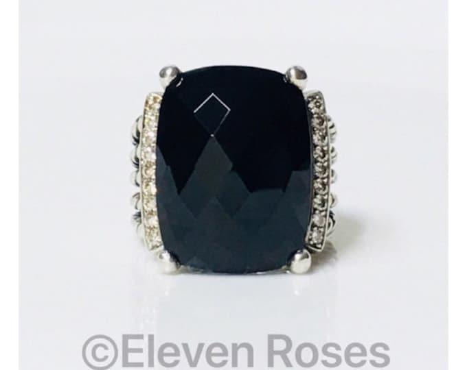David Yurman Black Onyx Diamond Wheaton Ring 925 Sterling Silver Free US Shipping