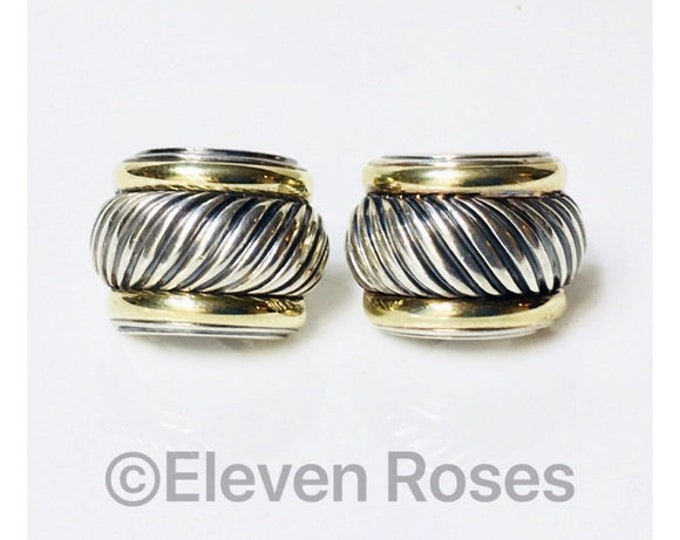 David Yurman Extra Large Classic Cable Thoroughbred Huggie Earrings 925 Sterling Silver & 585 14k Gold Free US Shipping