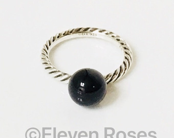 David Yurman Black Onyx Ball Dangle Elements Ring 925 Sterling Silver Free US Shipping