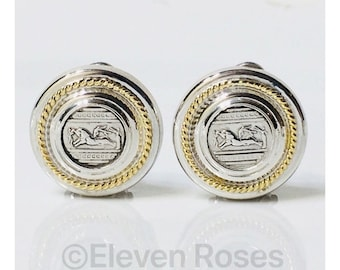 Two Tone Sterling 14k Gold Greek Coin Style Earrings Free US Shipping