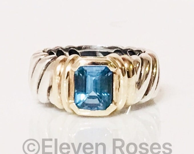 David Yurman Hampton Blue Topaz Wide Cable Band Ring 925 Sterling Silver & 585 14k Yellow Gold Free US Shipping