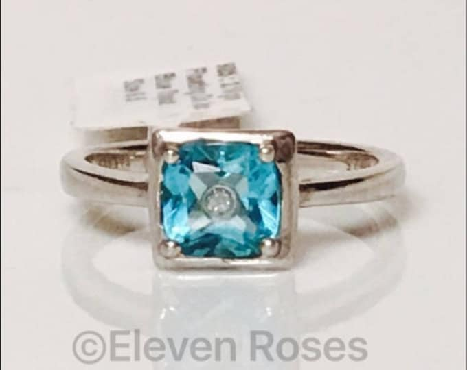 925 Sterling Silver Blue Topaz Floating Inside Diamond Ring Free US Shipping